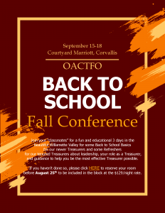 2019 OACTFO Fall Conference flyer